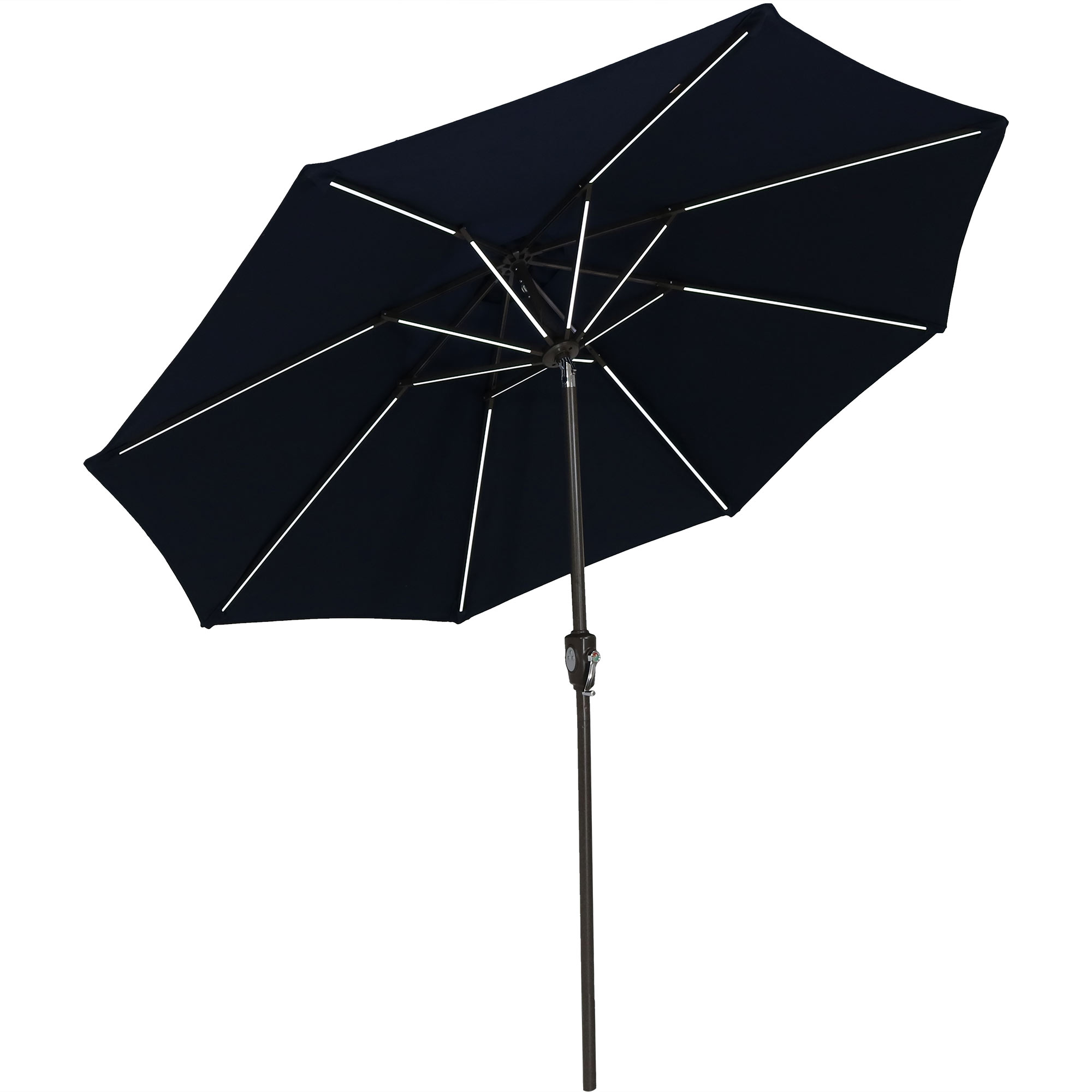 Solar Patio Umbrella Push Button Tilt Crank Market Umbrella Led Light Bars Navy Blue Photo