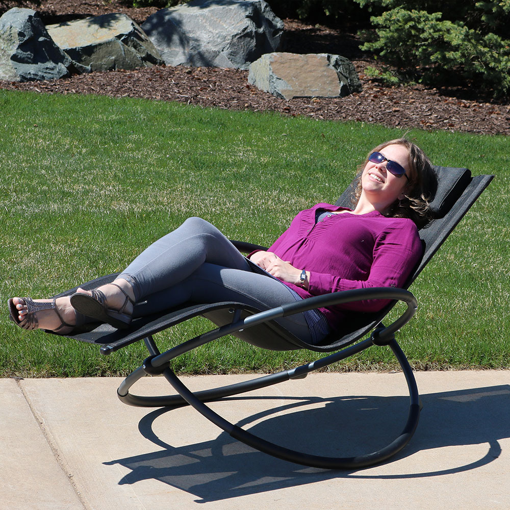Sunnydaze Orbital Folding Zero Gravity Rocking Lounger W Pillow  Image 671