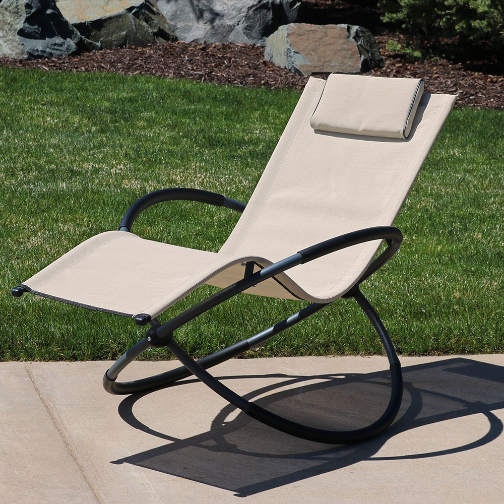 Sunnydaze Orbital Folding Zero Gravity Rocking Lounger W Pillow Beige Image 345