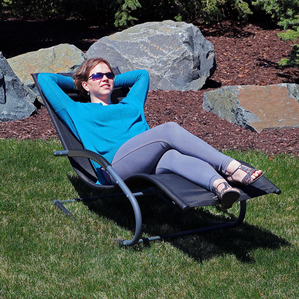 Sunnydaze Rocking Wave Lounger W Pillow  Image 873