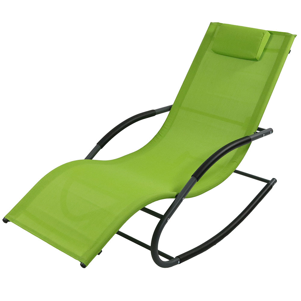 Rocking Wave Lounger Pillow Patio Lawn Lounge Chair Rocker Green Photo