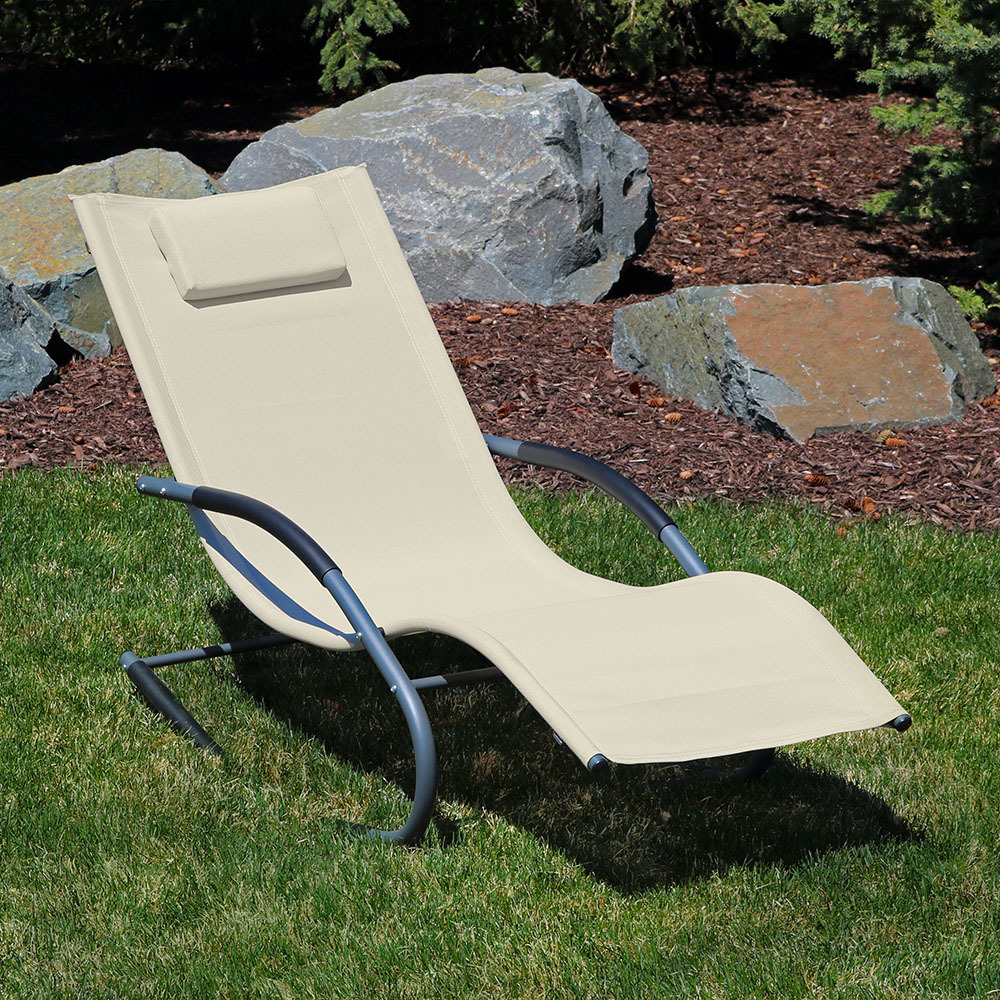 Sunnydaze Rocking Wave Lounger W Pillow Beige Picture 615