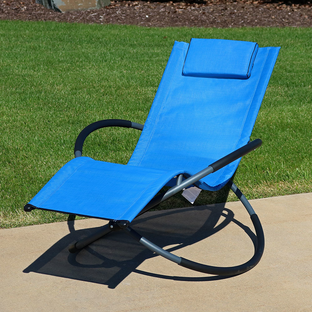 Sunnydaze Orbital Folding Zero Gravity Rocking Lounger W Pillow Blue Picture 684