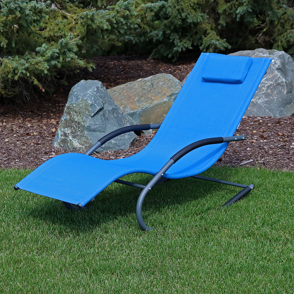 Sunnydaze Rocking Wave Lounger W Pillow Blue Image 21