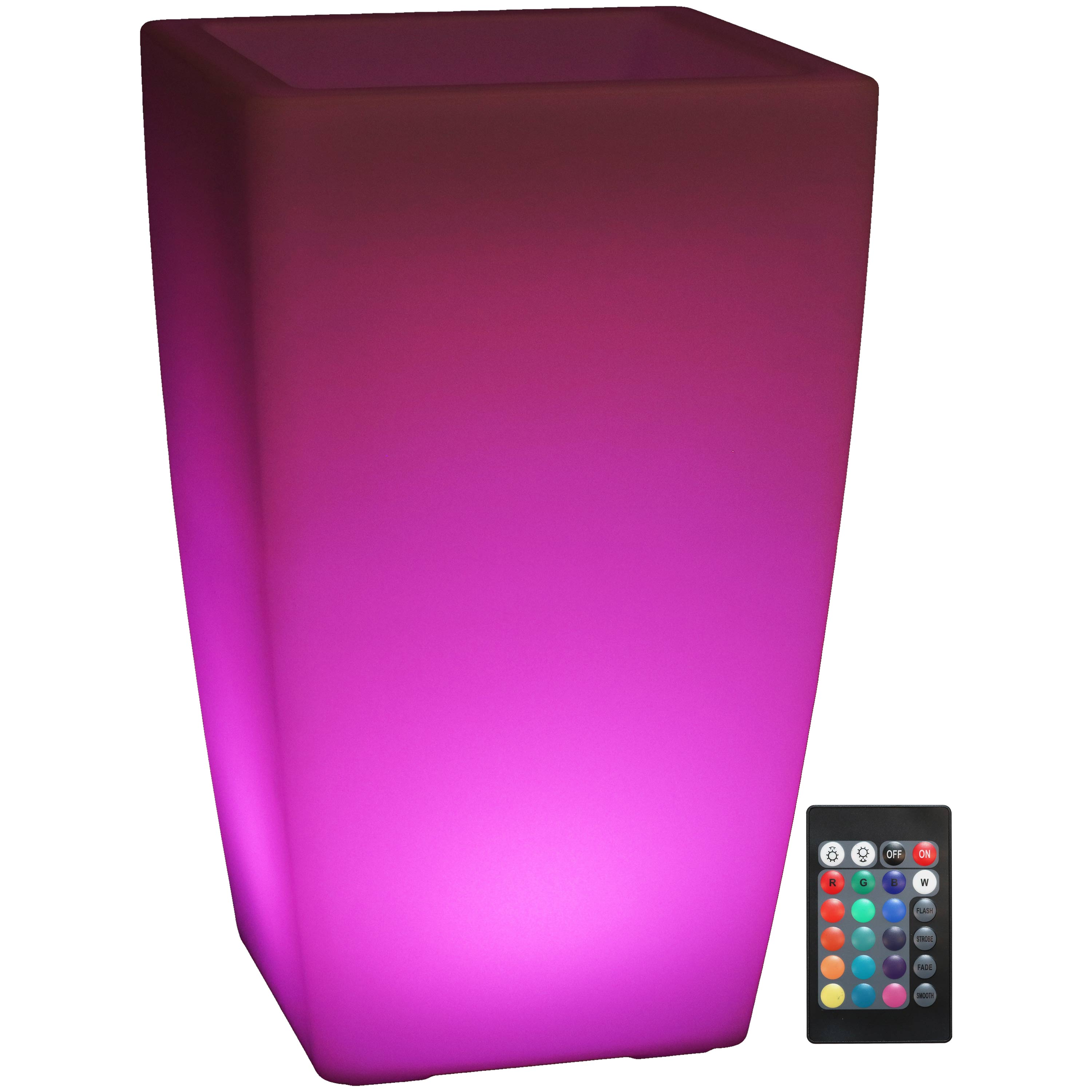Led Light Square Flower Pot Remote Control Rechargeable Battery Rgb Color Changing Tall Photo
