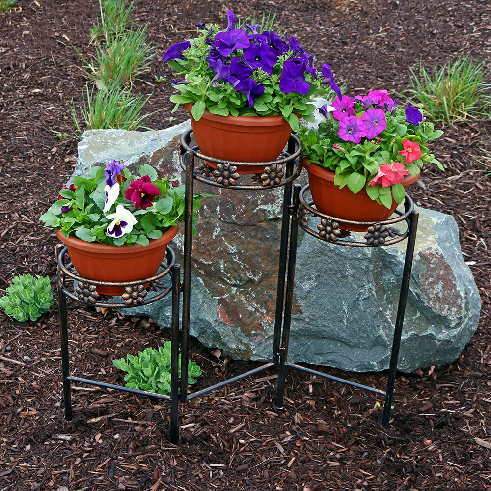 Sunnydaze 3 Tiered Folding Plant Stand 29 Inches Tall