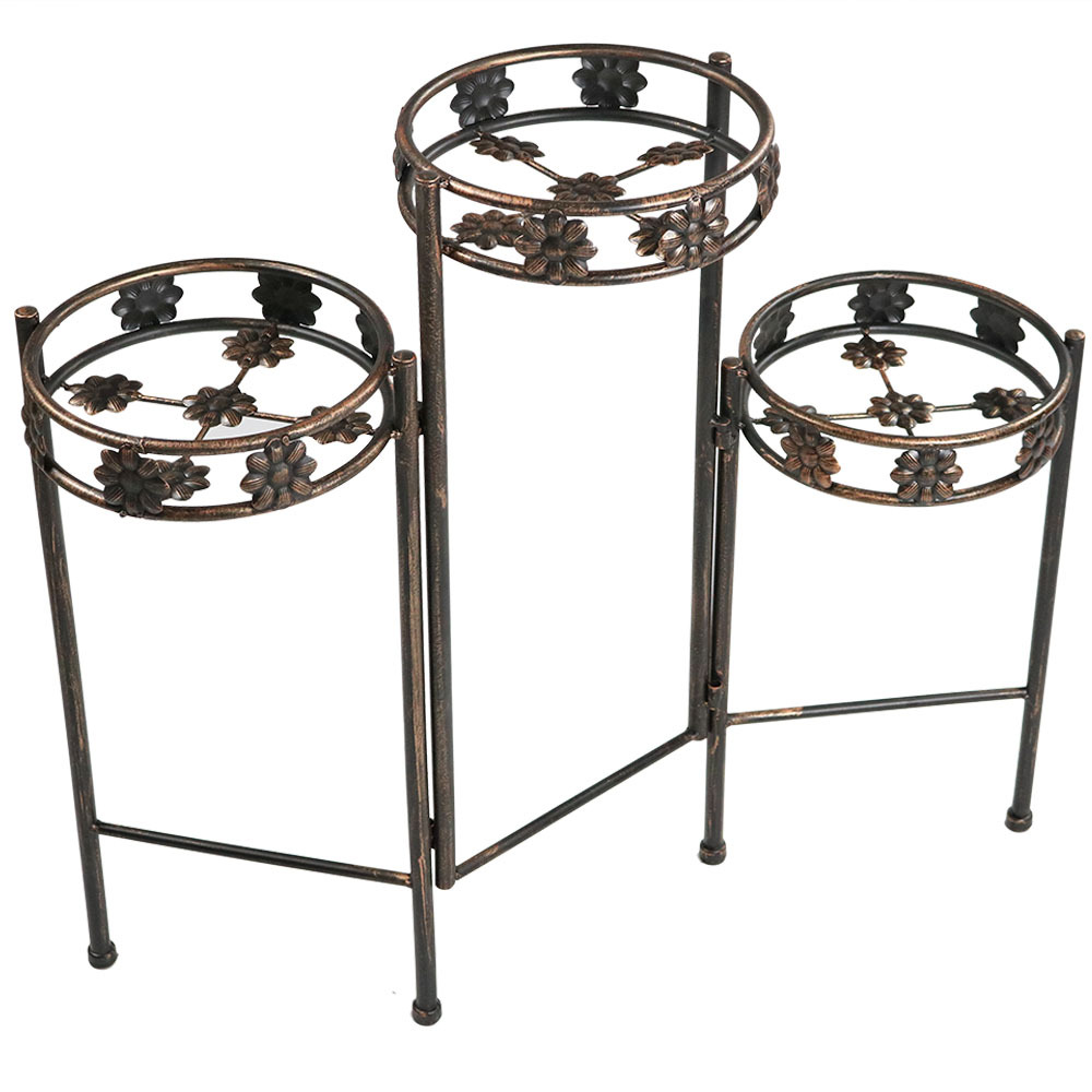 Sunnydaze 3-Tiered Folding Metal Plant Stand, Sturdy Indoor/Outdoor Flower Pot Holder, 29 Inch Tall