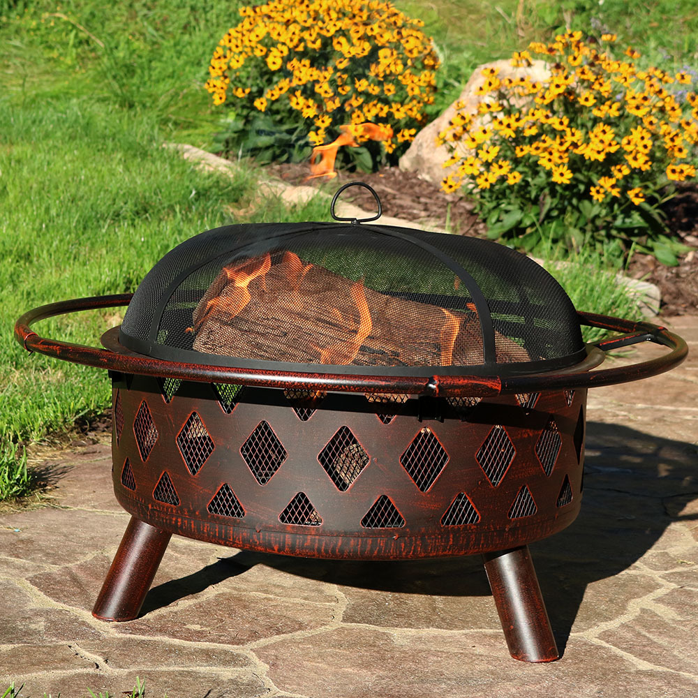 Bronze Crossweave Wood Burning Fire Pit Image 205