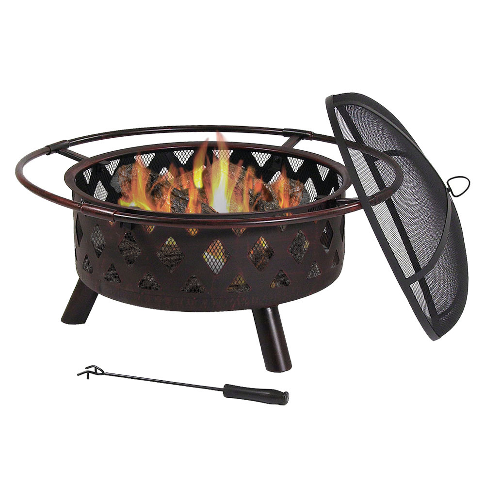 Sunnydaze Crossweave Outdoor Fire Pit - 30 Inch Deep Bonfire Wood Burning Patio & Backyard Firepit for Outside with Spark Screen, Fireplace Poker, and Metal Grate, Bronze