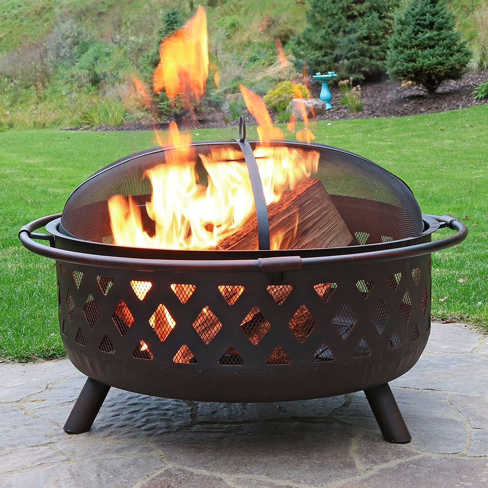 Sunnydaze Large Bronze Crossweave Fire Pit Photo