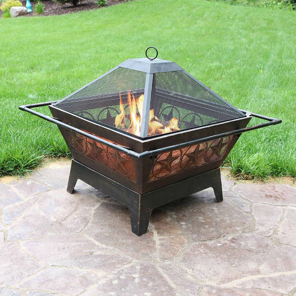 northern galaxy square fire pit 32in wood burning outdoor backyard