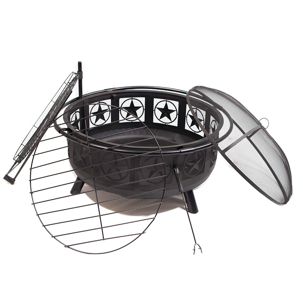 All Star Fire Pit Bowl Bbq Cooking Grate Spark Screen Patio Backyard Wood Burning Firepit  Photo