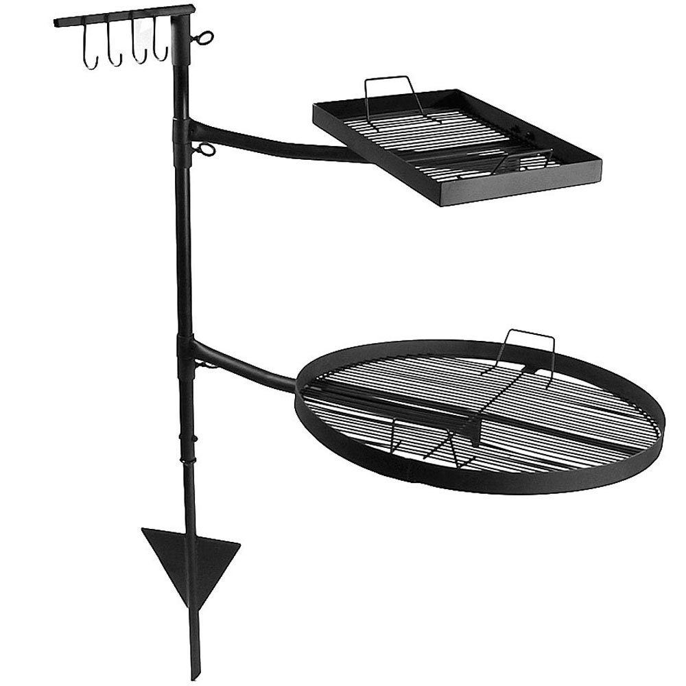 Dual Campfire Cooking Grill Grate Swivel System Fire Pit Bbq Grilling Photo