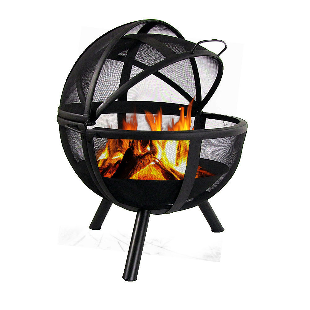 flaming ball fire pit durable steel portable wood burning multiple options ebay. Black Bedroom Furniture Sets. Home Design Ideas