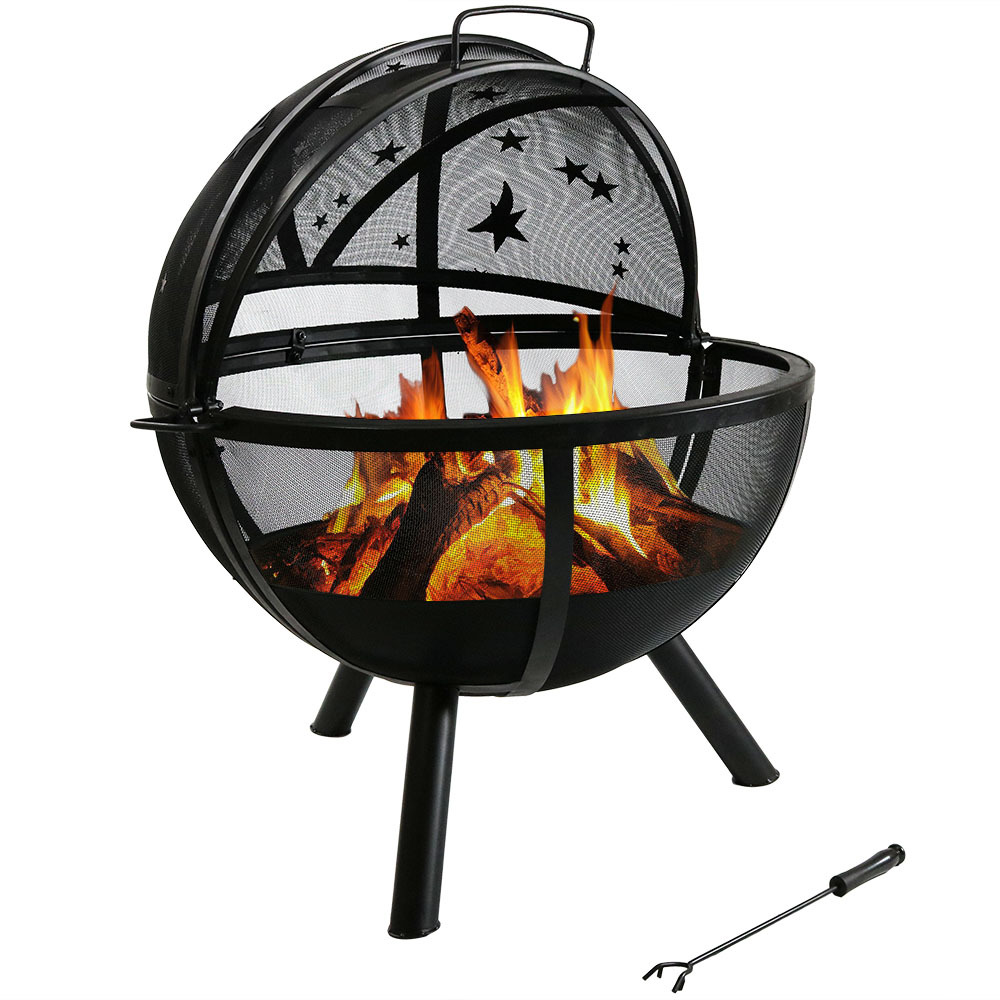 sunnydaze flaming ball fire pit steel portable wood burning multiple options ebay. Black Bedroom Furniture Sets. Home Design Ideas