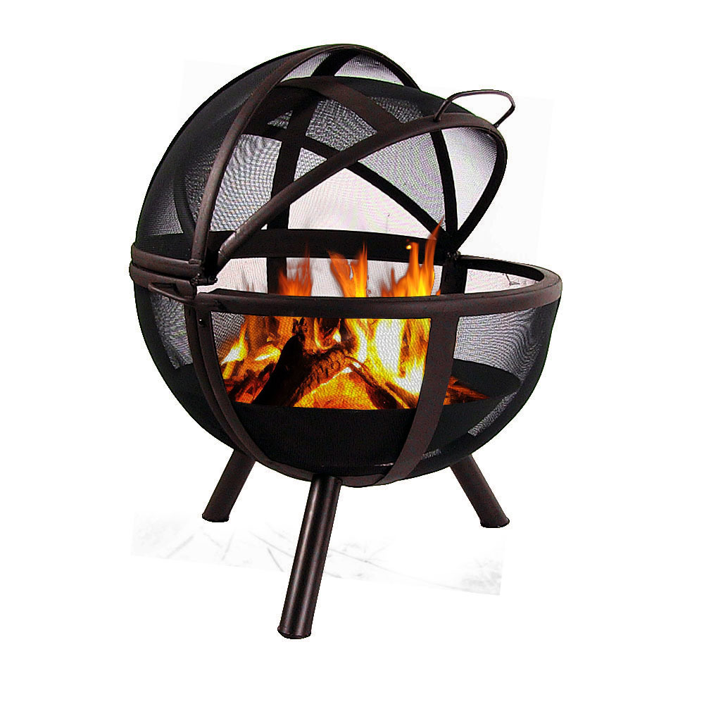 Sunnydaze 30 Inch Sphere Sienna Flaming Ball Fire Pit with Protective Cover