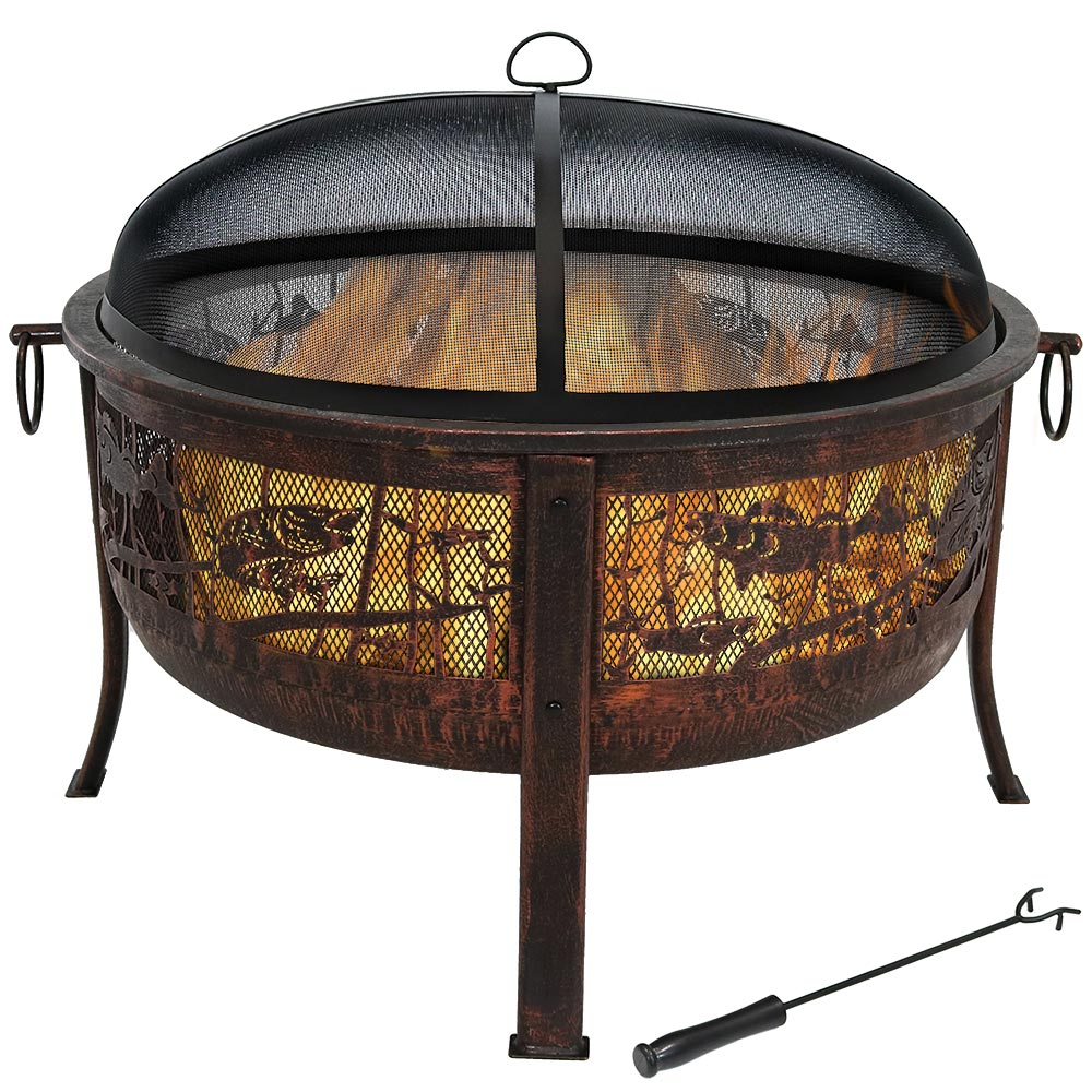 Northwoods Fishing Fire Pit Spark Screen Photo