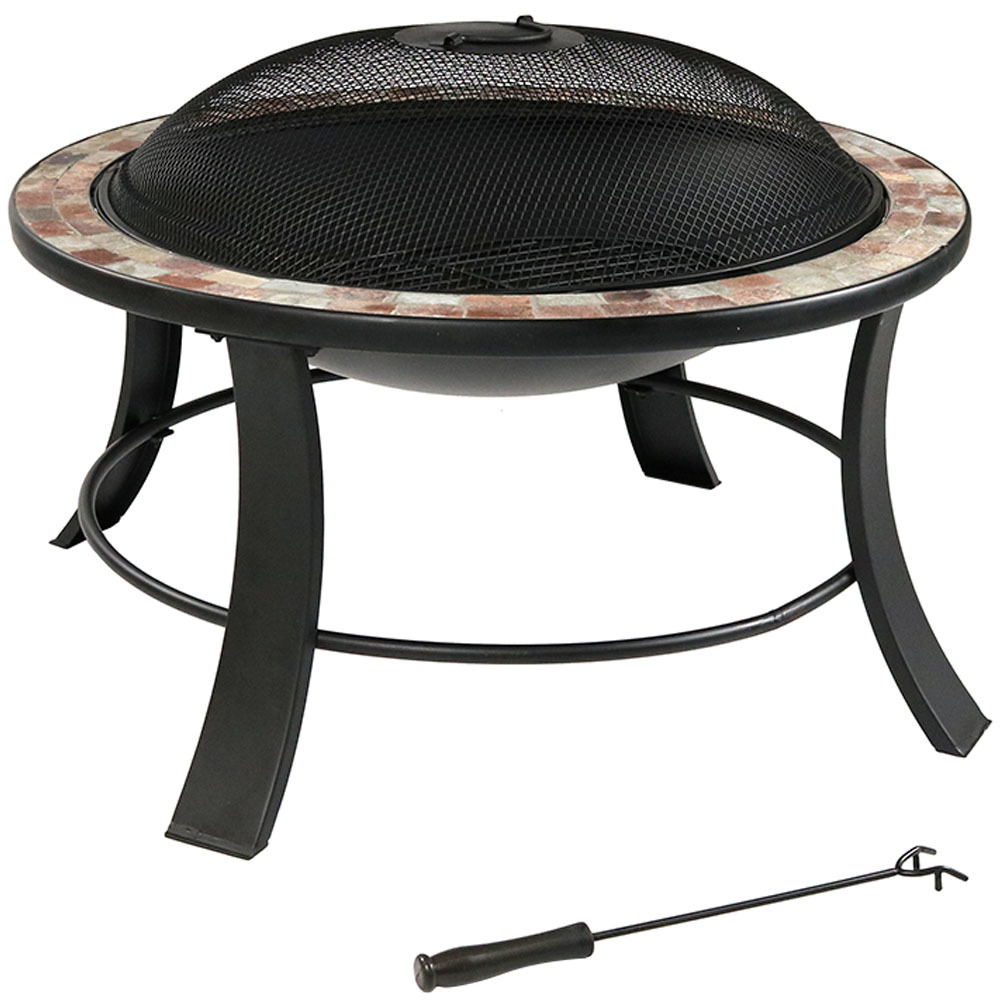 Natural Slate Fire Pit Spark Screen Wood Burning Patio Firepit Bowl Photo