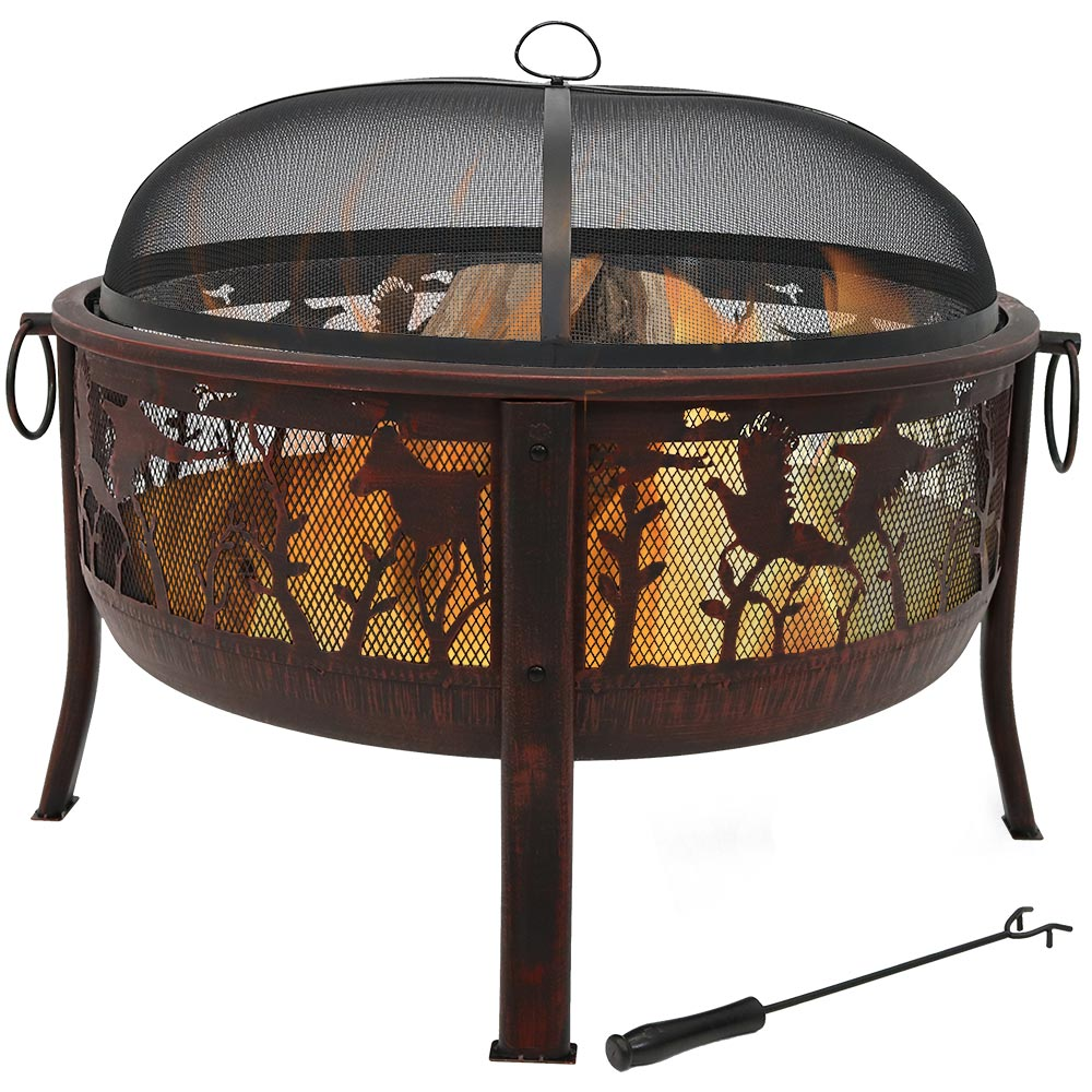 Pheasant Hunting Fire Pit Round Wood Burning Backyard Patio Firepit Spark Screen Waterproo Photo