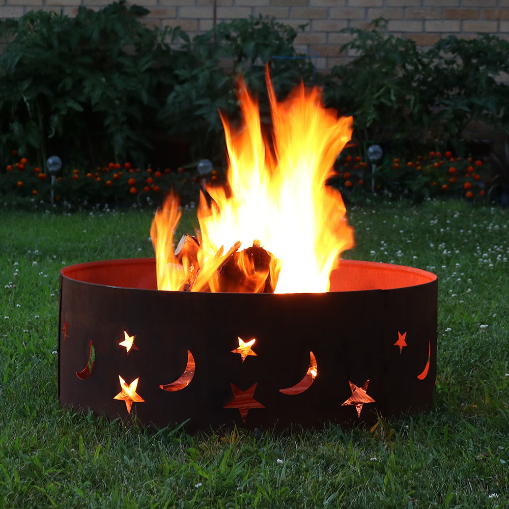 Sunnydaze Round Rustic Stars Moons Fire Pit Ring Diameter Photo