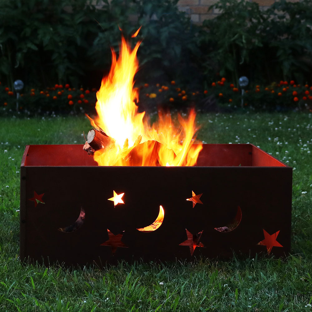 Sunnydaze Square Rustic Stars Moons Fire Pit Ring Square Picture 748