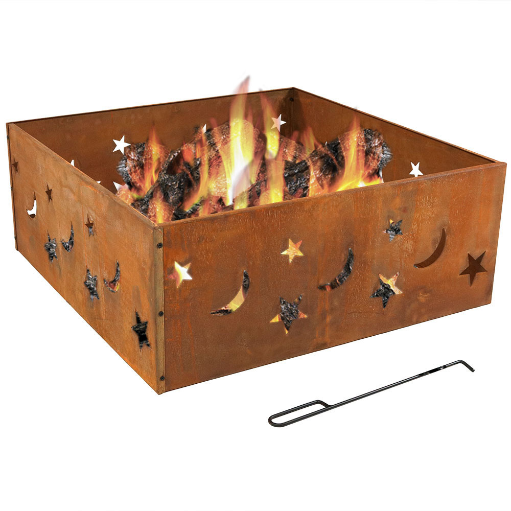 Sunnydaze Square Rustic Stars and Moons Fire Pit Ring, 30 Inch Square