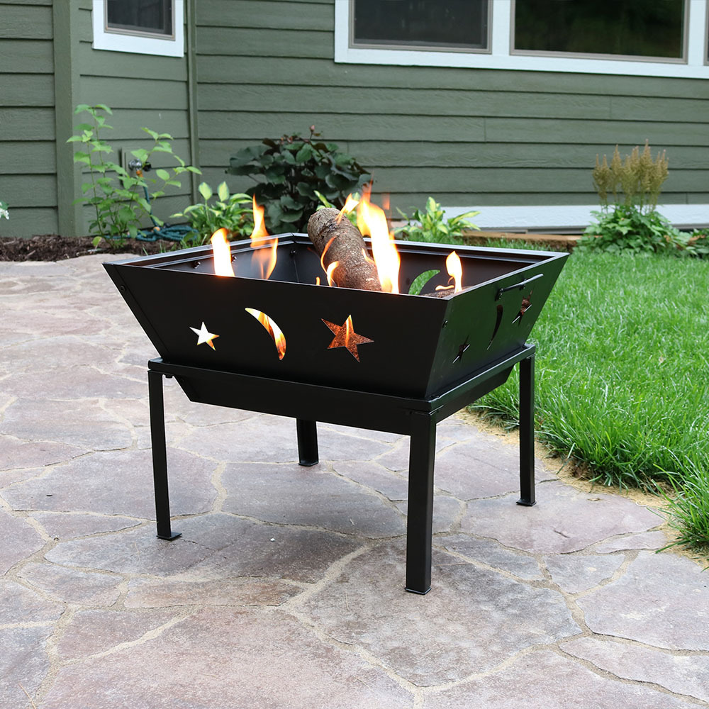 Sunnydaze Outdoor Square Stars Moons Fire Pit Picture 689