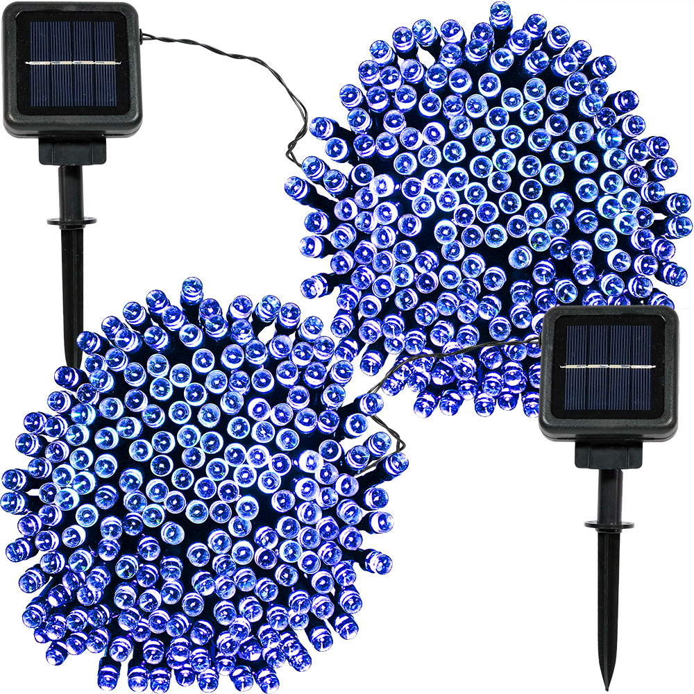 Sunnydaze  Set of 2, 68 Foot 200-Count Solar Powered String Lights Outdoor Decorative, Blue