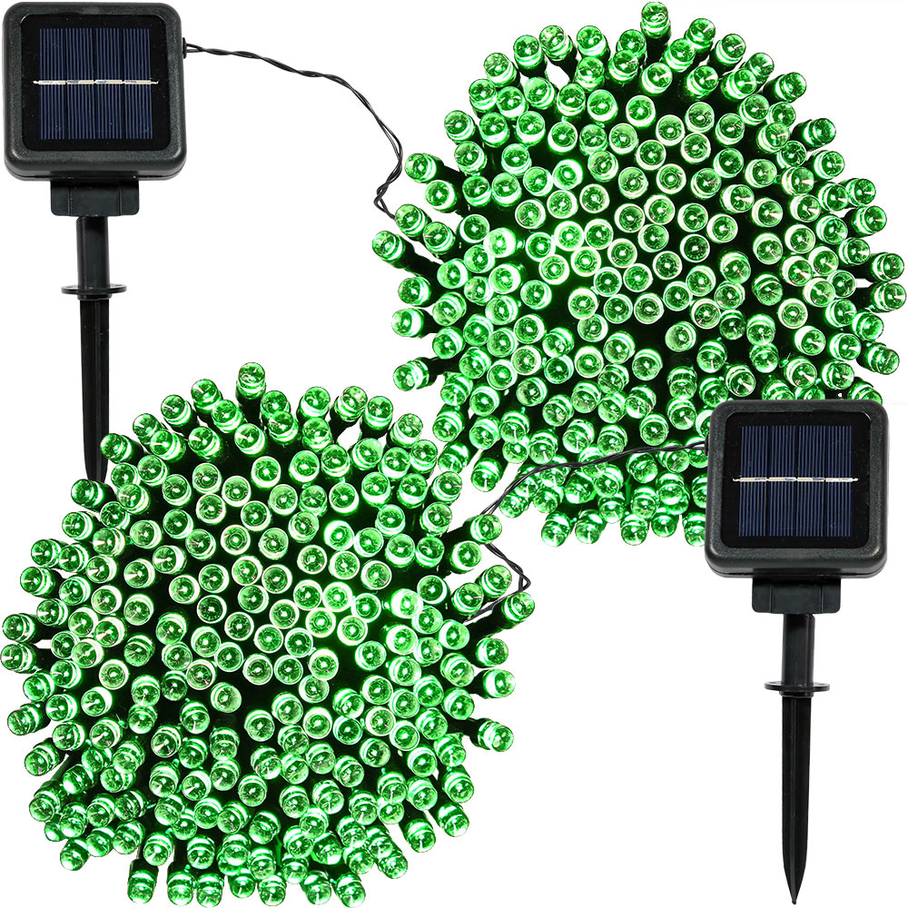 Sunnydaze  Set of 2, 68 Foot 200-Count Solar Powered String Lights Outdoor Decorative, Green