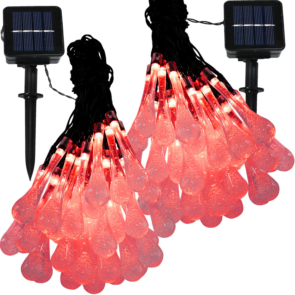 Sunnydaze Set of 2, 20 Foot 30-Count LED Solar Powered String Lights Outdoor  Water Drop, Red