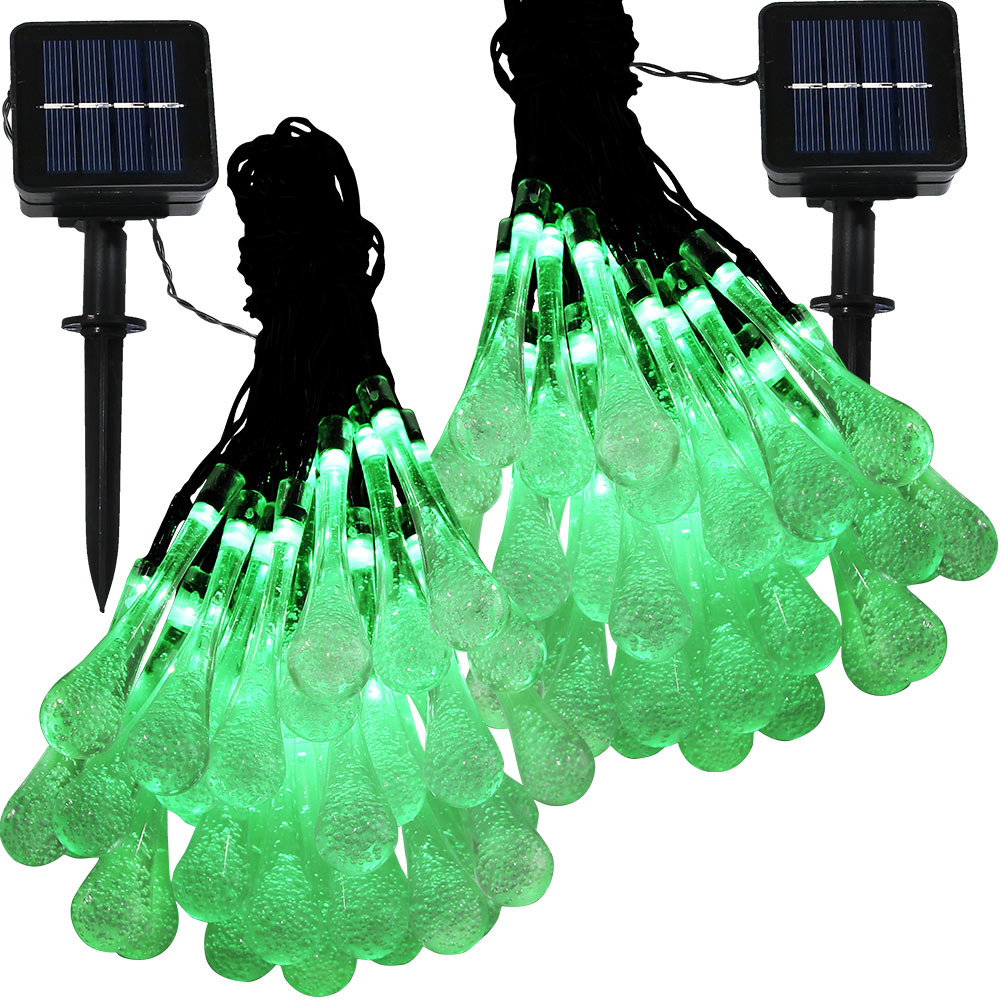 Sunnydaze Set of 2, 20 Foot 30-Count LED Solar Powered String Lights Outdoor  Water Drop, Green