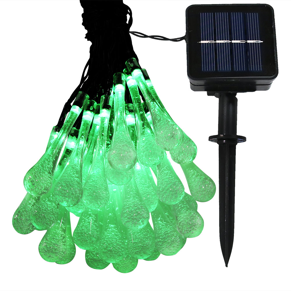 Sunnydaze Outdoor Solar String Lights, 30 LED Hanging Water Drop Patio Fairy Lights, 20 Foot, Green
