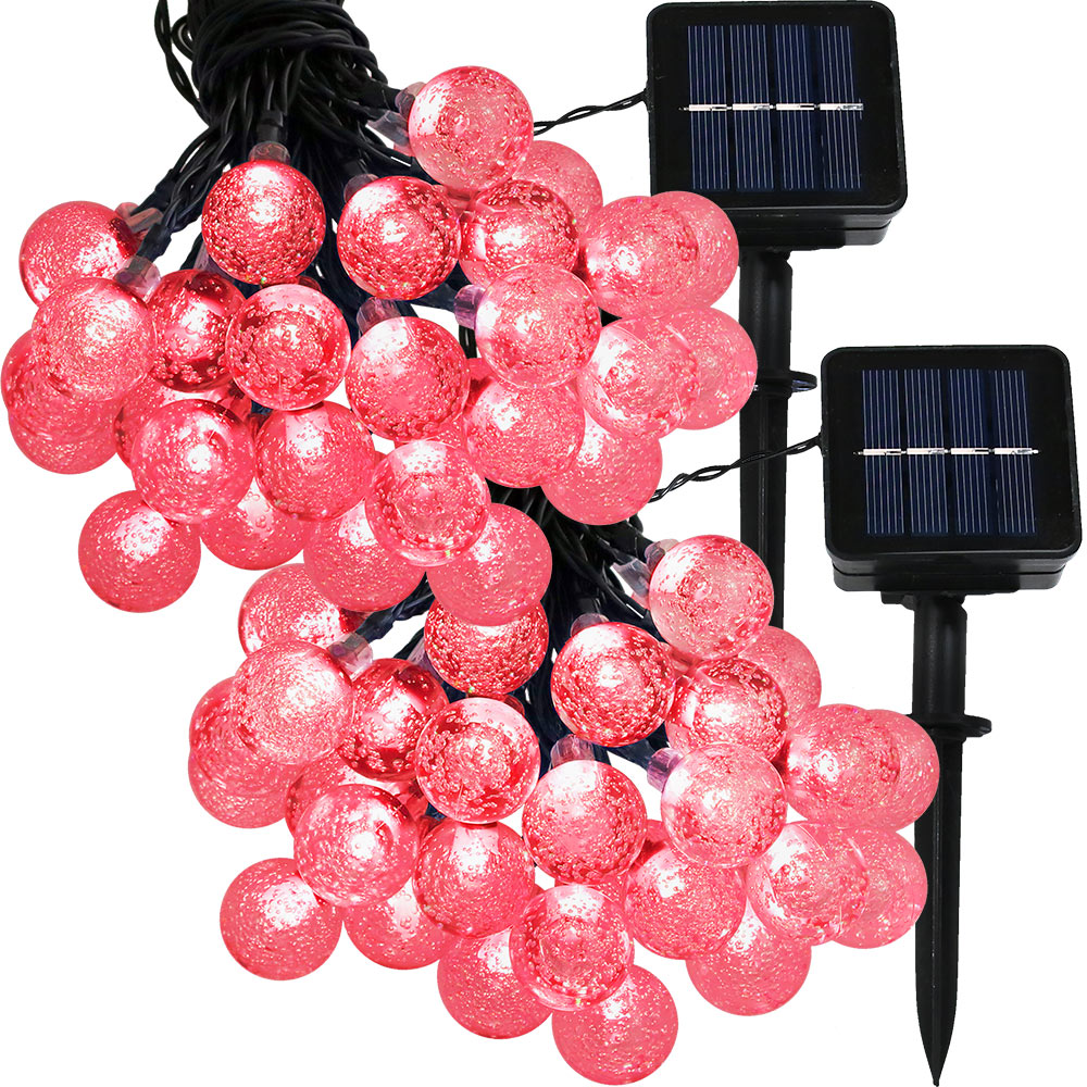 Sunnydaze Set of 2, 20 Foot 30-Count LED Solar Powered String Lights Outdoor  Globe, Red