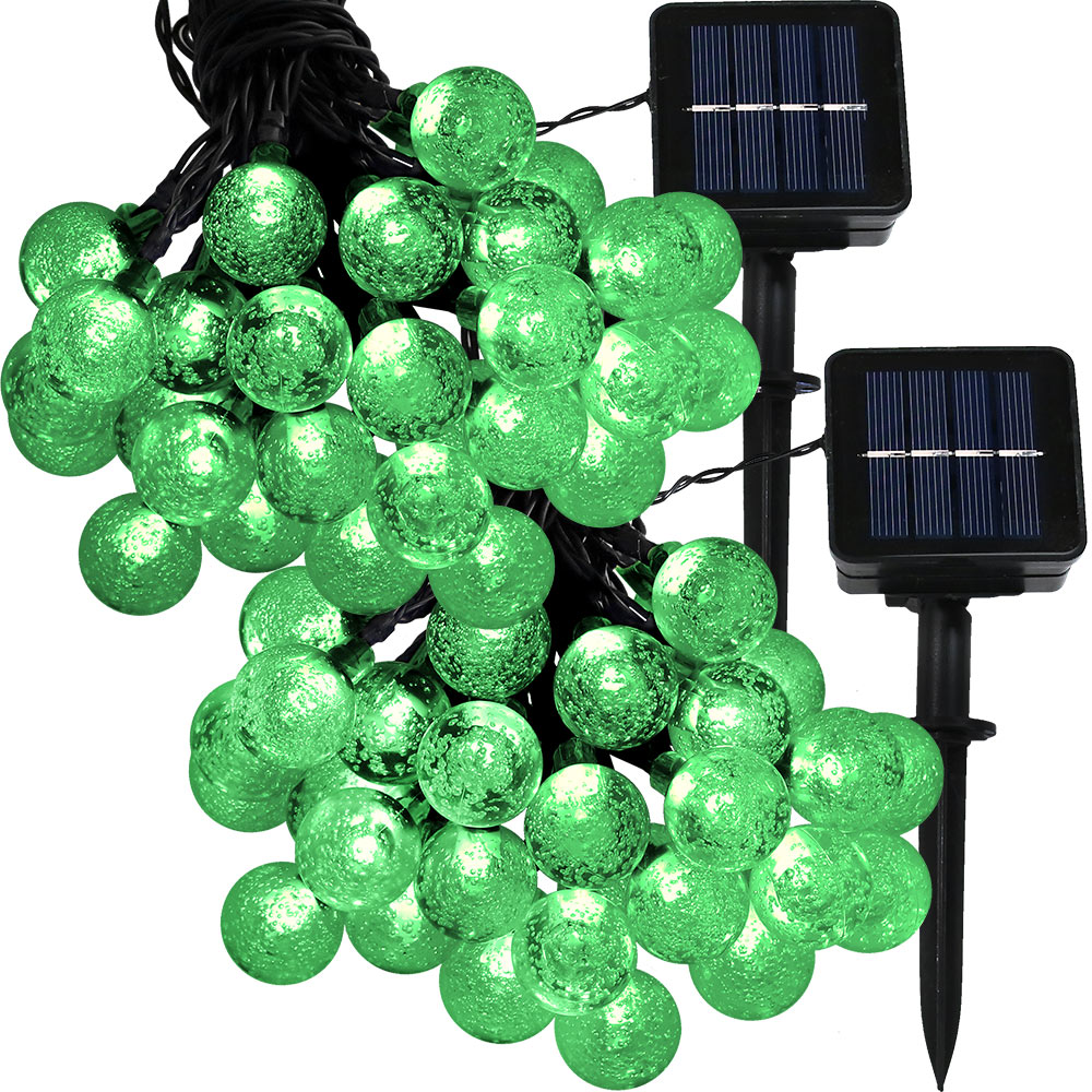Sunnydaze Set of 2, 20 Foot 30-Count LED Solar Powered String Lights Outdoor  Globe, Green