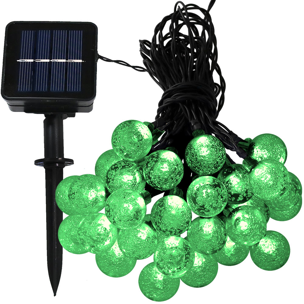 Sunnydaze 20 Foot 30-Count LED Solar Powered String Lights Outdoor  Globe, Green