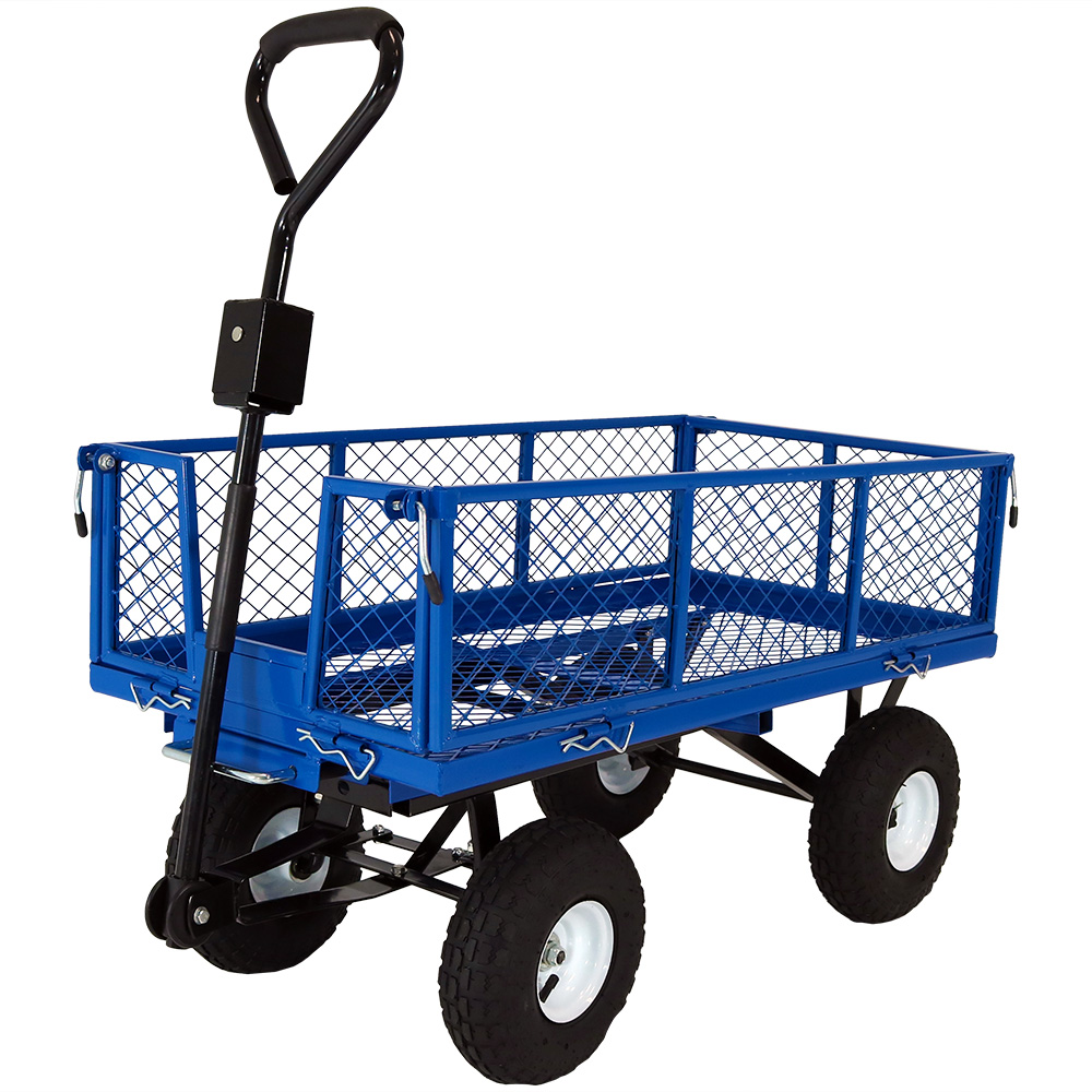 Garden Cart Lawn Wagon Removable Sides Blue Photo