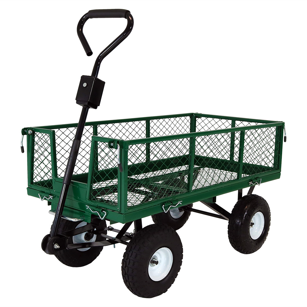 Garden Cart Lawn Wagon Removable Sides Green Photo