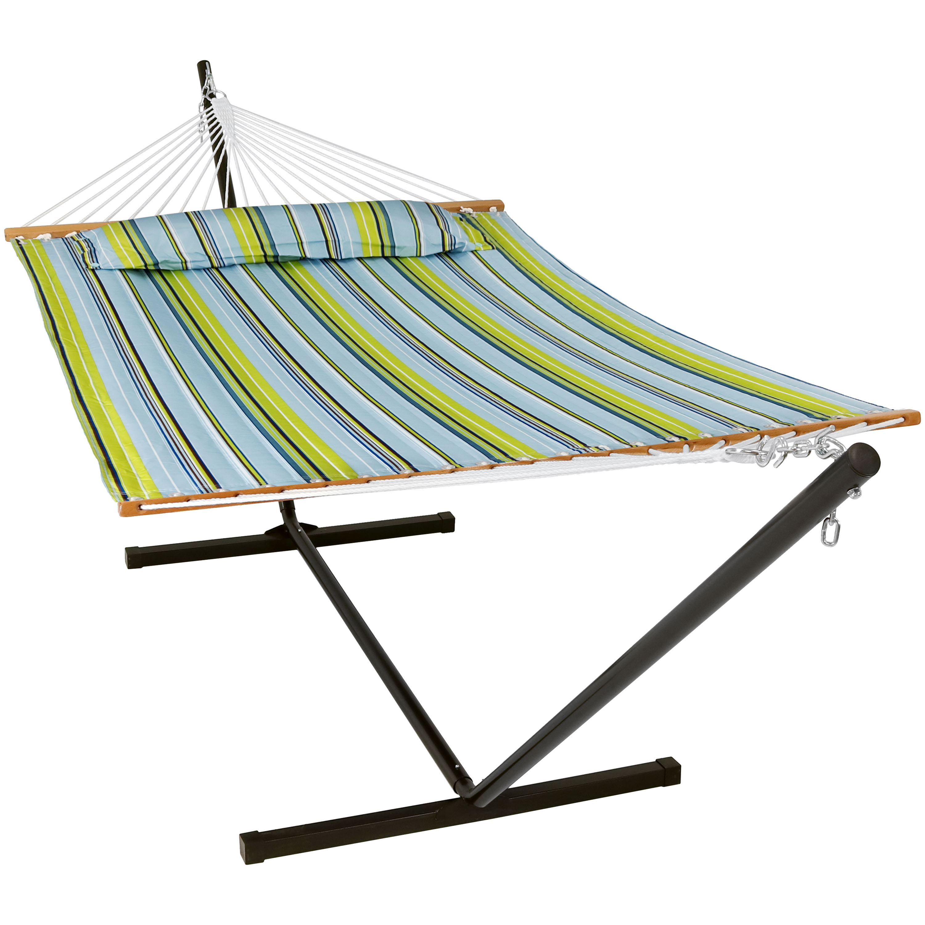 Double Hammock Portable Stand Spreader Bar Bed Blue Green Photo