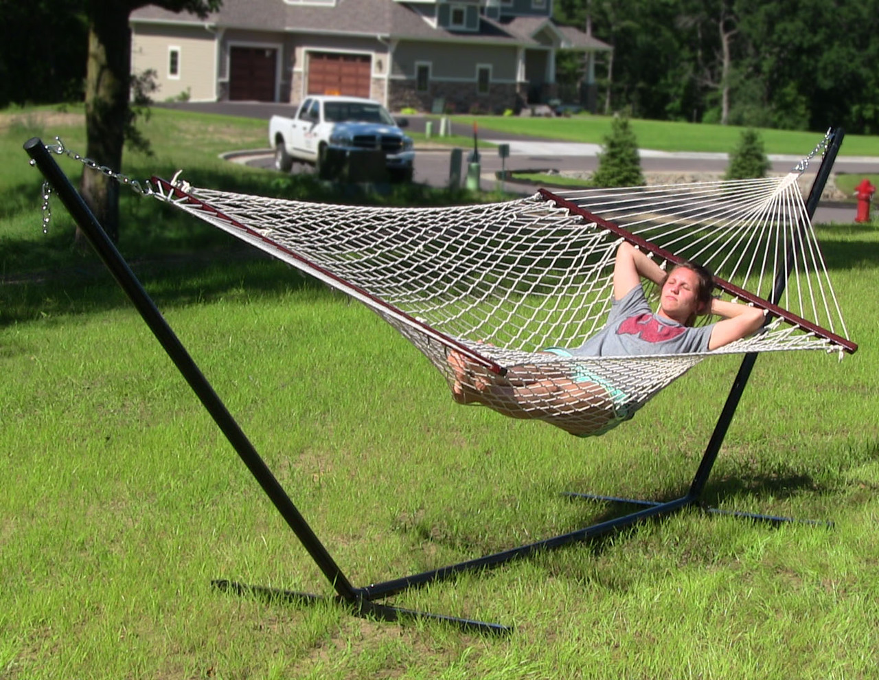 Sunnydaze Double Wide Person Cotton Rope Hammock Image 423
