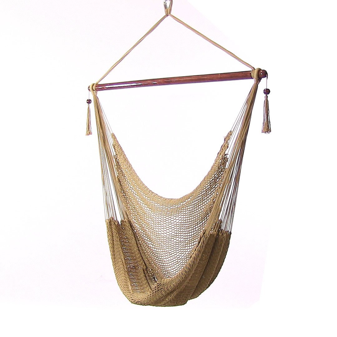 Sunnydaze Hanging Rope Hammock Chair Swing, Extra Large Caribbean, Tan - For Outdoor Patio, Yard and Porch