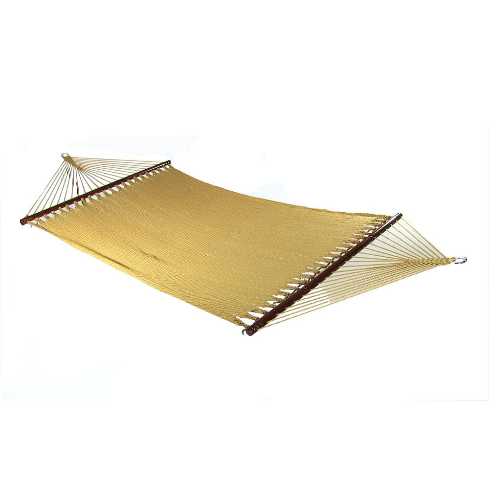 Polyester Rope Hammock Double Wide Spreader Bars Patio Yard Porch Tan
