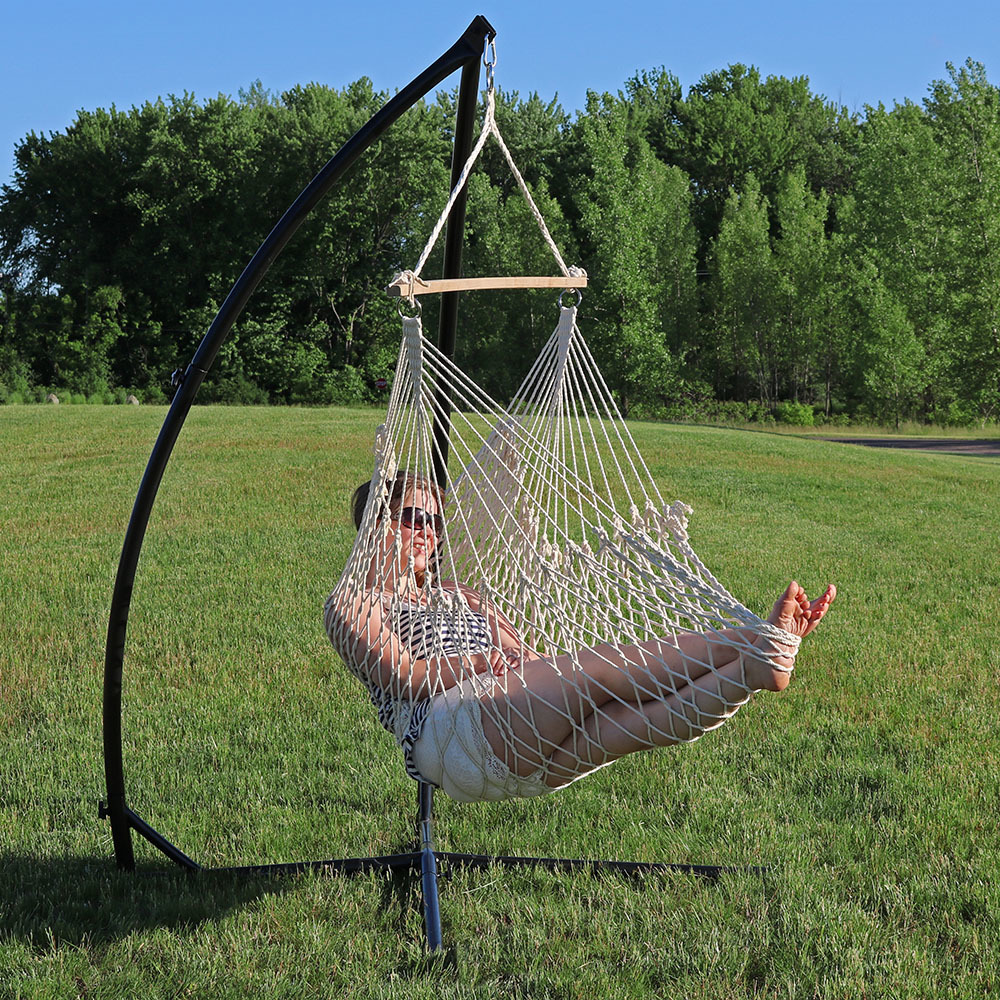 Sunnydaze Hanging Cotton Rope Hammock Chair Swing Stand Set Natural Indoor Or Outdoo Image 799