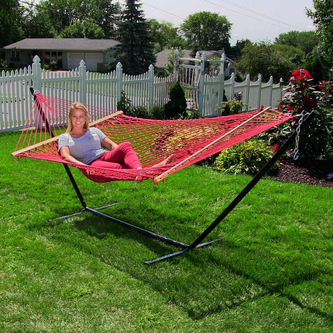 Sunnydaze Extra Large Caribbean Soft Spun Polyester Rope Hammock Picture 833