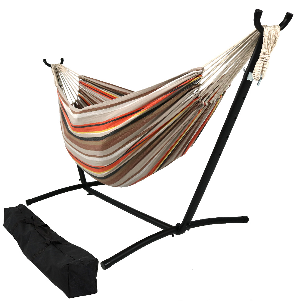 Natural Tightly Woven Double Hammock Stand Set Beach Sunrise Pound Photo
