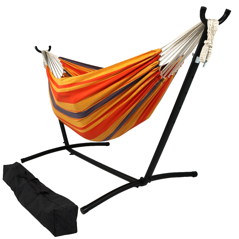 Natural Tightly Woven Double Hammock Stand Combo Summer Breeze Long Wide Photo
