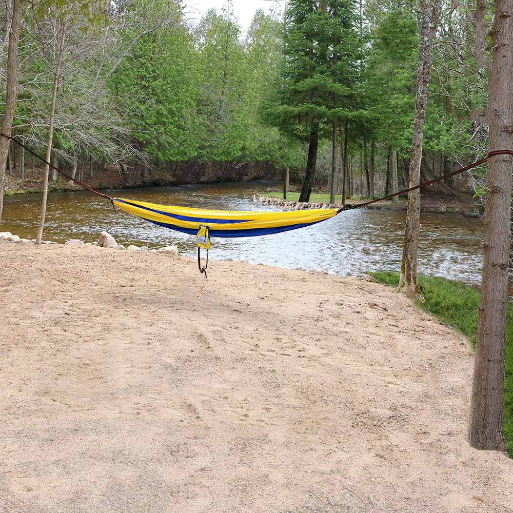 Blue and Yellow Camping Hammock