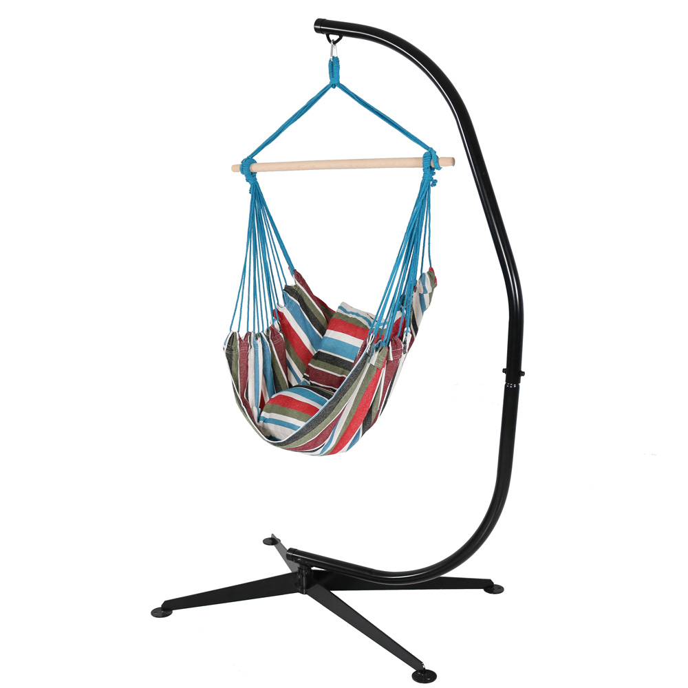 Hanging Hammock Chair Swing Stand Set Cool Breeze Use Seat Cushions Photo