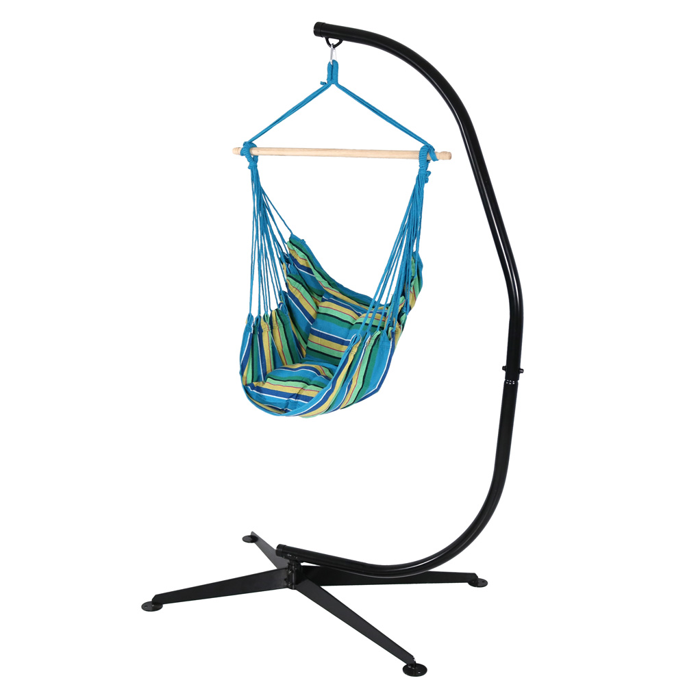 Hanging Hammock Chair Swing Stand Set Ocean Breeze Use Seat Cushions Photo