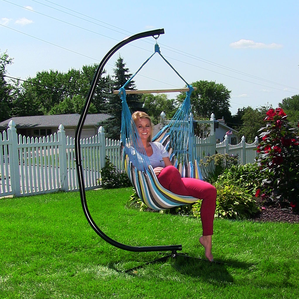 Sunnydaze Hanging Hammock Chair Swing Stand Set Ocean View Indoor Or Outdoor Use Max Photo