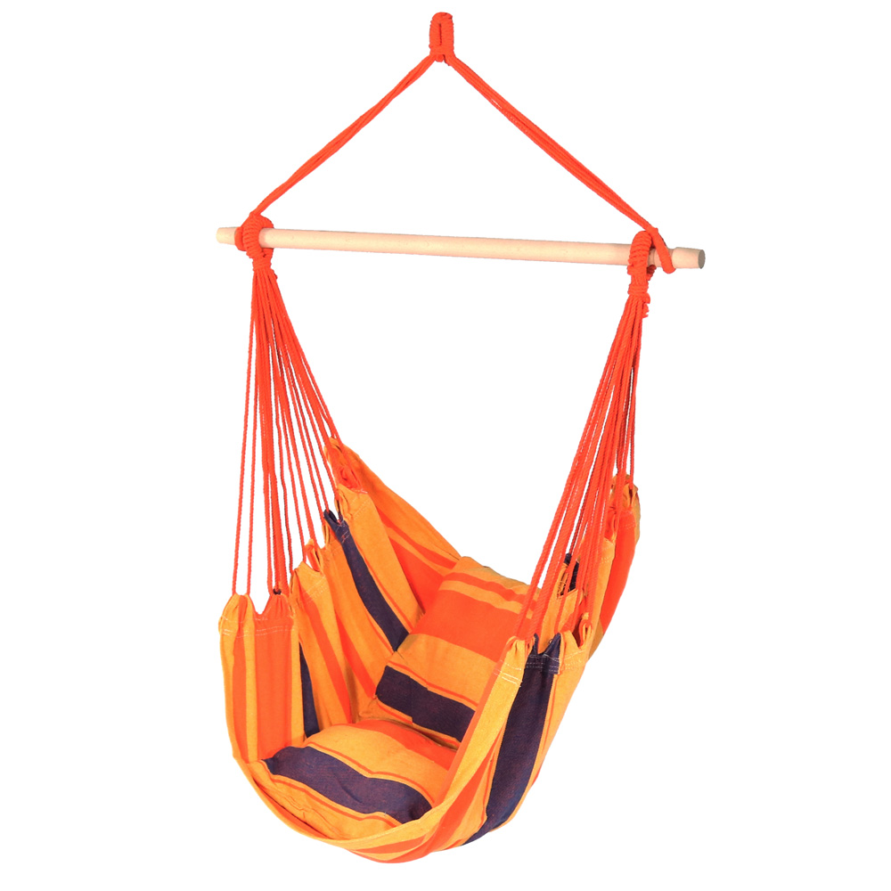 Sunnydaze Hanging Hammock Chair Swing, Summer Breeze, for Outdoor Use, Max Weight: 264 pounds, Includes 2 Seat Cushions
